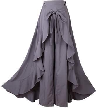 Aivtalk Ruffle Pant Skirt for Women Long Split Tie Waist Chiffon Overlay Pant Skirts Soft Maxi Palazzo Skirt Small