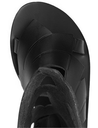 Ancient Greek Sandals Black Leather Banana High Sandals