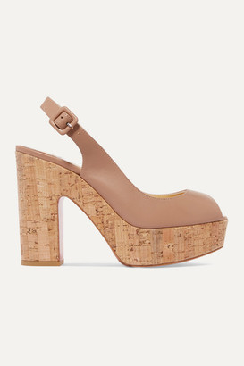 Christian Louboutin Dona Anna 120 Leather Slingback Platform Sandals - Neutral