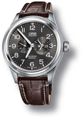 Oris Men's 44.7mm Big Crown Propilot Worldtimer Watch, Gray/Brown