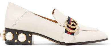 Gucci - Peyton Logo And Faux Pearl-embellished Leather Collapsible-heel Pumps - Off-white