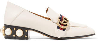 Gucci Logo And Faux Pearl-embellished Leather Collapsible-heel Pumps - Off-white