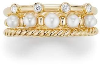 David Yurman Petite Perle Narrow Multi Row Ring with Pearls and Diamonds