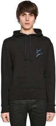 Saint Laurent Signature Print Hooded Cotton Sweatshirt