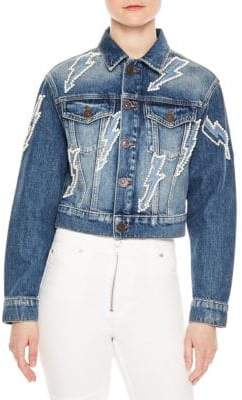 Sandro Vibration Embellished Cropped Denim Jacket