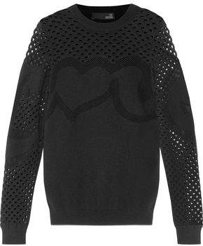 Love Moschino Crochet And Open Knit-Paneled Stretch-Knit Sweater