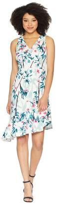 Maggy London Printed Scuba Sheath with Asymmetric Hem Women's Dress