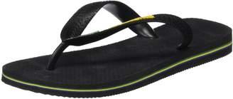Havaianas Brasil Logo Kid's Flip Flops - Black-UK 10/11