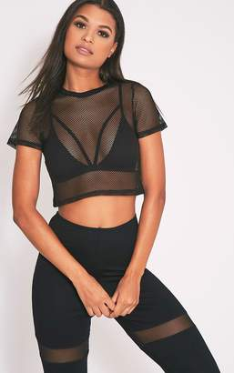 PrettyLittleThing Mayce Black Fishnet Shortsleeve Crop Top