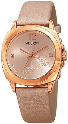 Akribos XXIV Women's 'Polished Finish Alloy Case' Quartz Stainless Steel and Leather Casual Watch