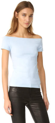 Helmut Lang Boat Neck Off Shoulder Tee $125 thestylecure.com