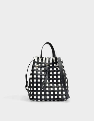 Furla Stacy Casanova Small Drawstring Bag in Onyx and Petalo Calfskin