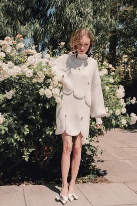 J.ING Bianca White Scalloped Sweater