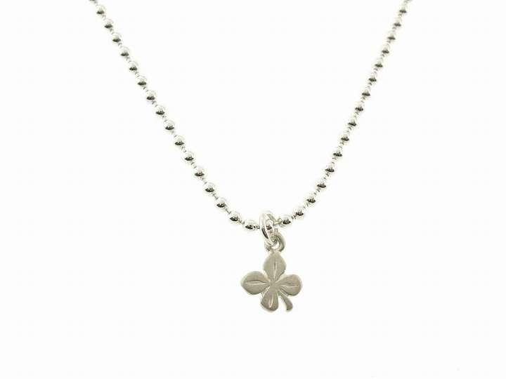Dogeared Tiny Four Leaf Clover on Silver Bead Chain