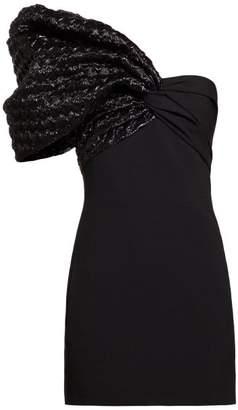 Saint Laurent Heart Quilted One Sleeve Crepe Mini Dress - Womens - Black