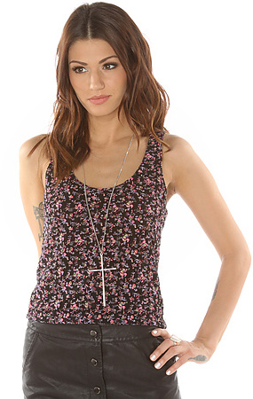 Volcom The VCS Stephanie Cherry Lace Crop Tank in Black Combo