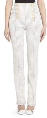 Balmain Button-Front Pinstripe Jeans