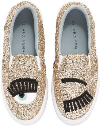 Chiara Ferragni FLIRTING EYES GLITTERED SLIP-ON SNEAKERS