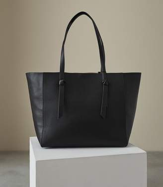 Reiss KATE LEATHER TOTE BAG Black