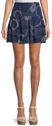 Ramy Brook Anabelle Printed Tiered Silk Mini Skirt