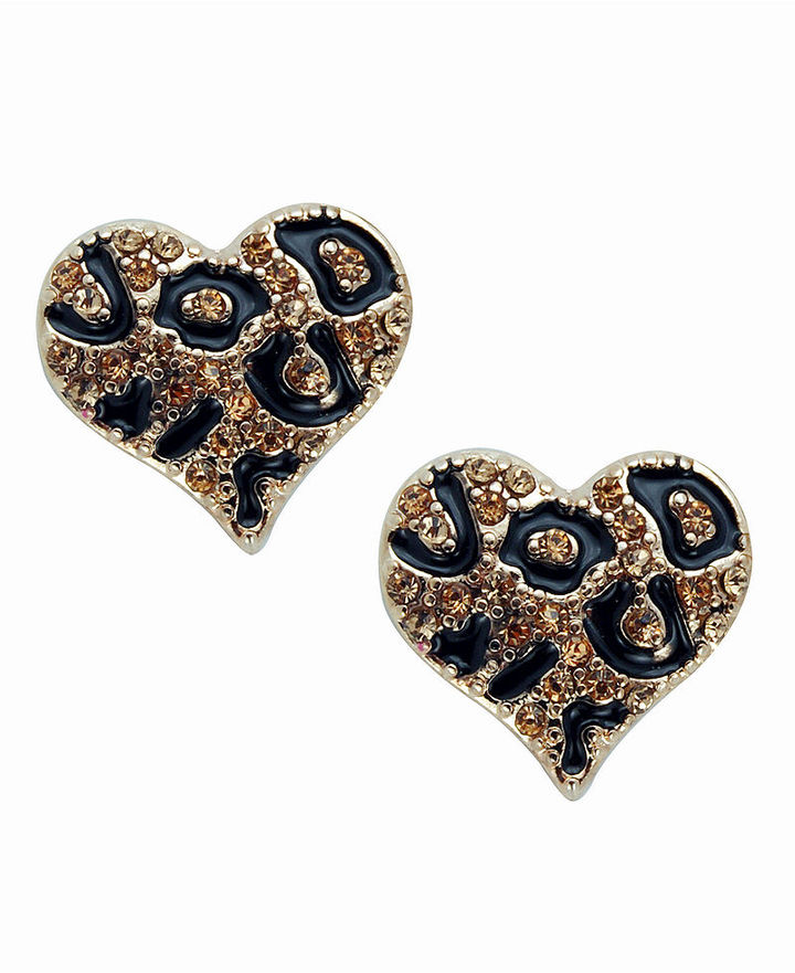 GUESS Earrings, Leopard Heart Stud Earrings