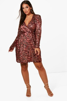 967b6328 boohoo Plus Two Tone Wrap Sequin Dress