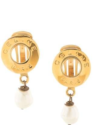 Celine Pre-Owned swinging pearl clip-on logo earrings