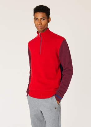 Paul Smith Men's Red And Burgundy Funnel Neck Half-Zip Sweater