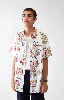 Pacsun Toucan Floral Short Sleeve Button Up Shirt