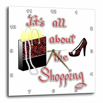 3dRose Red Zebra Print Bag and High Heels Its All About the Shopping, Wall Clock, 10 by 10-inch