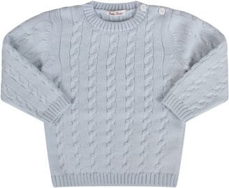 Little Bear Light Blue Babyboy Sweater With Cable-knit