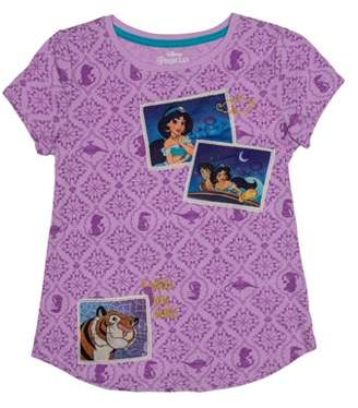 62426c99 Disney Princess Classic Jasmine and Aladdin Embroidered Applique Graphic  T-Shirt (Little Girls &