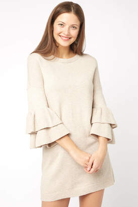 BB Dakota Sweater Than Honey Ruffle Sleeve Dress