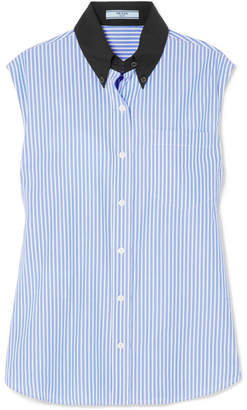 Prada Striped Cotton-poplin Shirt - Blue