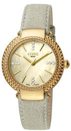 34mm Chain-Bezel Watch w/ Leather Gold/Gray