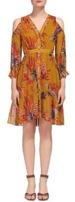Whistles Cactus Print Cold-Shoulder Dress
