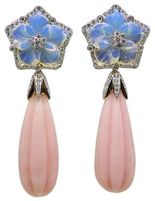 Pamela Huizenga 18K Yellow Gold 95.31ct Carved Opal and Diamonds Drop Earrings