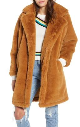 WOVEN HEART Faux Fur Teddy Coat