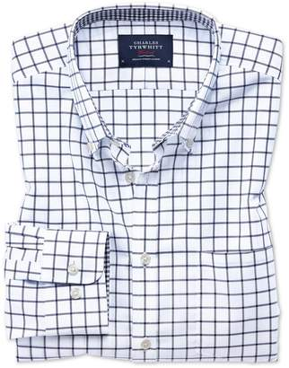 Charles Tyrwhitt Extra Slim Fit Button-Down Non-Iron Oxford Navy Windowpane Check Cotton Casual Shirt Single Cuff Size Large