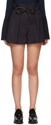 3.1 Phillip Lim Navy Origami Pleat Shorts