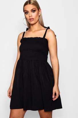boohoo Plus Tie Sleeve Sheared Skater Dress