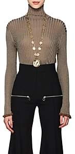 Chloé Women's Metallic Rib-Knit Silk-Blend Turtleneck Sweater-Beige