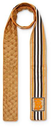 Burberry Icon-Stripe & Scale-Print Silk Skinny Scarf