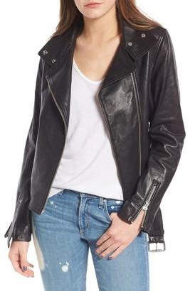 Mackage Women's Miela-N Belted Leather Moto Jacket