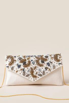 francesca's Ariella Leaf Beaded Clutch - Ivory