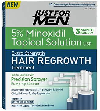 Just For Men Minoxidil Extra Strength Hair Loss Regrowth Treatment for Men with Precision Sprayer