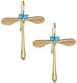 Annette Ferdinandsen Sleeping Beauty Turquoise & 14K Yellow Gold Dragonfly Earrings