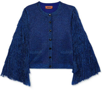Missoni Fringed Metallic Knitted Cardigan - Royal blue