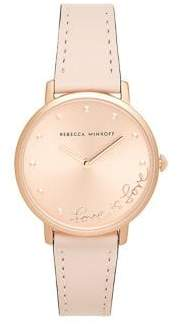 Rebecca Minkoff Rose Goldtone Sunray Blush Leather Watch