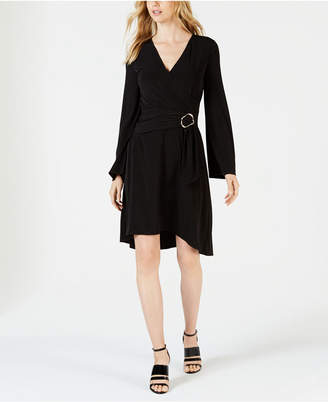 Calvin Klein Belted Faux-Wrap Dress